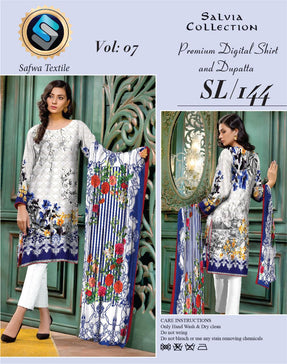 Sl-144-SAFWA LAWN-SALVIA COLLECTION- PRINTED -2 PIECE DRESS