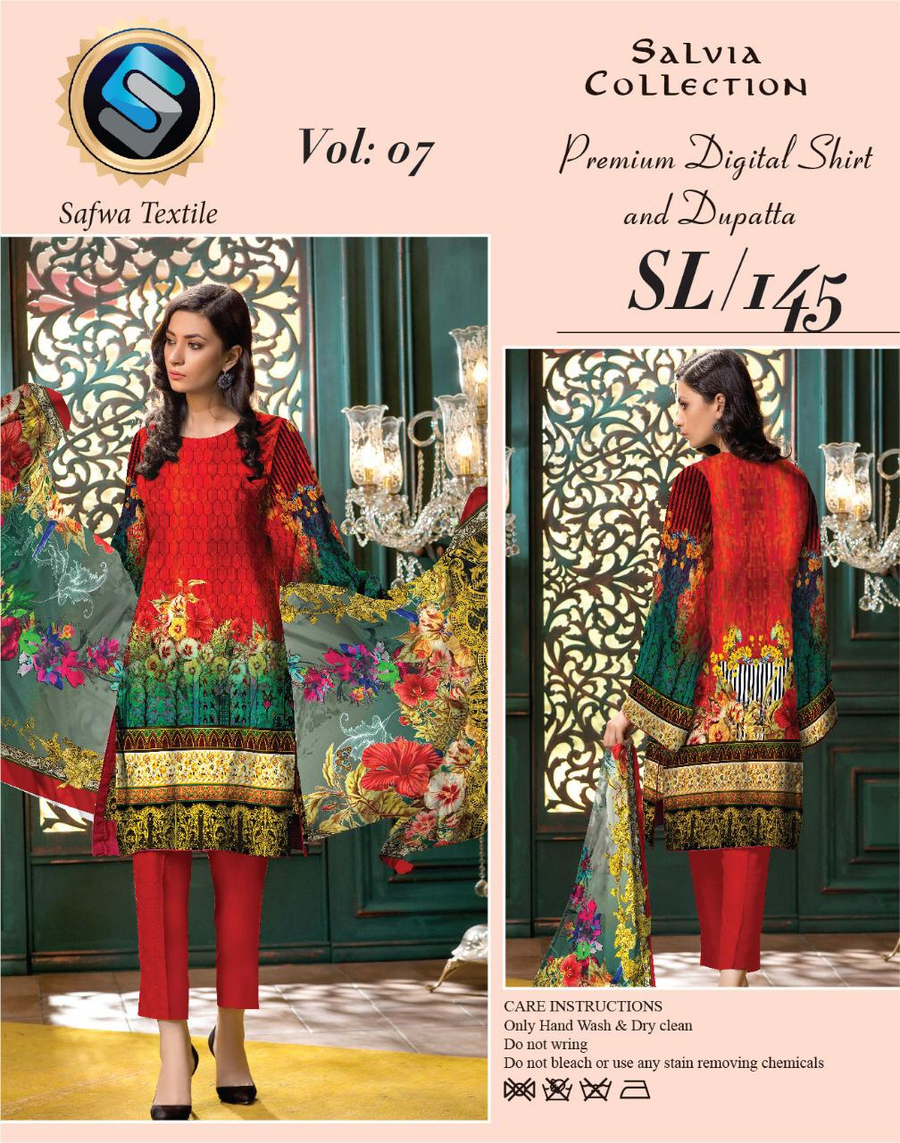 Sl-145-SAFWA LAWN-SALVIA COLLECTION- PRINTED -2 PIECE DRESS - Two Piece Suit - safwa