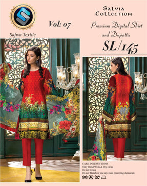Sl-145-SAFWA LAWN-SALVIA COLLECTION- PRINTED -2 PIECE DRESS