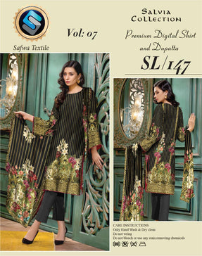 Sl-147-SAFWA LAWN-SALVIA COLLECTION- PRINTED -2 PIECE DRESS