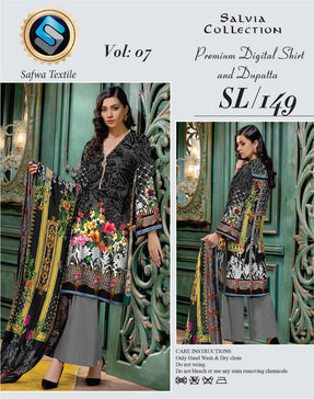 Sl-149-SAFWA LAWN-SALVIA COLLECTION- PRINTED -2 PIECE DRESS