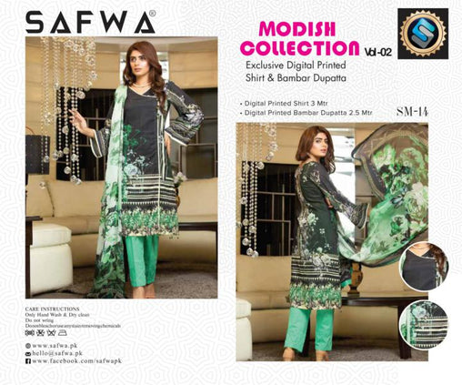 SM-14-SAFWA LAWN-MODISH COLLECTION- PRINTED -2 PIECE DRESS - Safwa |Dresses| Pakistani Dresses| Fashion|Online Shopping