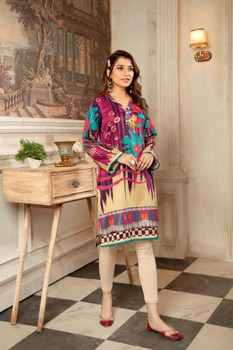 CST-14 - SAFWA DIGITAL COTTON SATIN PRINT KURTI COLLECTION -SHIRT| KURTI | KAMEEZ -SAFWA BRAND PAKISTAN , DRESS DESIGN, DRESSES , PAKISTANI DRESSES