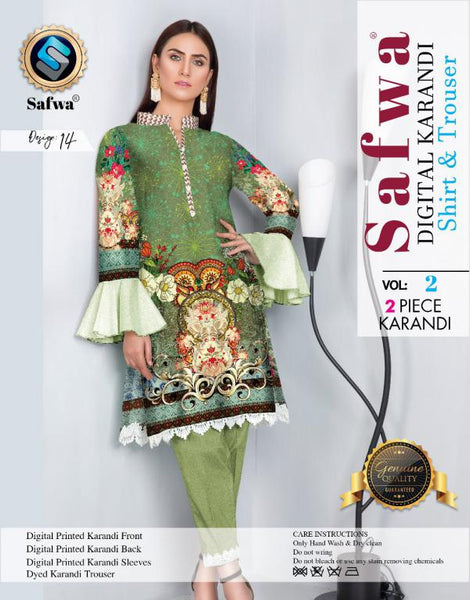 DK 14 - SAFWA DIGITAL KHADDAR 2 PIECE  PRINT COLLECTION -SHIRT and Trouser |SAFWA DRESS DESIGN| DRESSES| PAKISTANI DRESSES| SAFWA -SAFWA Brand Pakistan online shopping for Designer Dresses