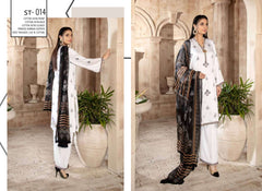 T-14 - SAFWA EMBROIDERED COTTON SATIN 3 PIECE COLLECTION -SHIRT Trouser and Duptta | SAFWA DRESS DESIGN| DRESSES | PAKISTANI DRESSES| SAFWA -SAFWA Brand Pakistan online shopping for Designer