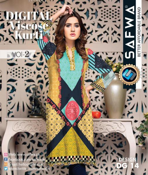 DG-14 - SAFWA - DIGITAL SHIRT - KURTI - VISCOSE KAMEEZ -SAFWA DRESS DESIGN, DRESSES, PAKISTANI DRESSES,-Shirt-Kurti-SAFWA Textile -SAFWA Brand Pakistan online shopping for Designer Dresses