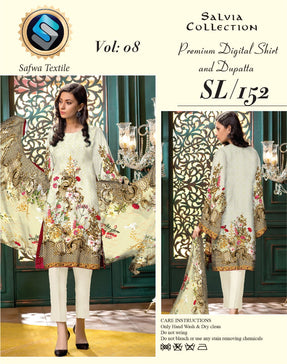 sl-152-SAFWA LAWN-SALVIA COLLECTION- PRINTED -2 PIECE DRESS