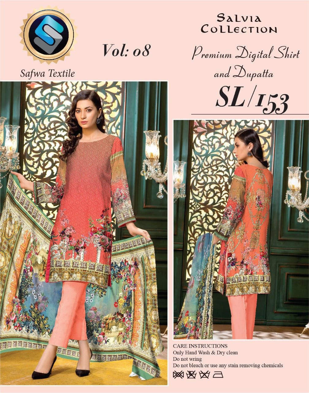 sl-153-SAFWA LAWN-SALVIA COLLECTION- PRINTED -2 PIECE DRESS - Two Piece Suit - safwa