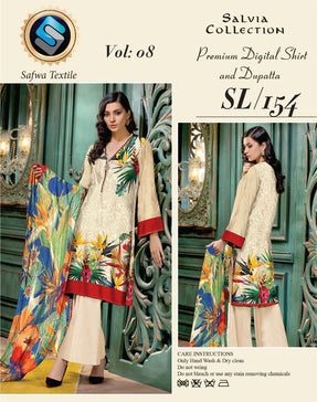 sl-154-SAFWA LAWN-SALVIA COLLECTION- PRINTED -2 PIECE DRESS