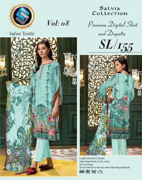 sl-155-SAFWA LAWN-SALVIA COLLECTION- PRINTED -2 PIECE DRESS