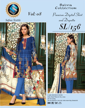 sl-156-SAFWA LAWN-SALVIA COLLECTION- PRINTED -2 PIECE DRESS
