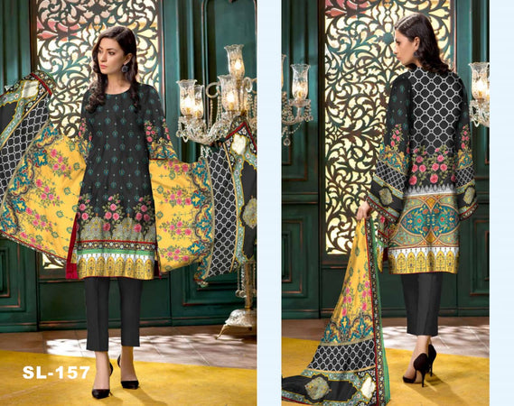 sl-157 -SAFWA LAWN-SALVIA COLLECTION- PRINTED -2 PIECE DRESS - Two Piece Suit - Safwa Pakistan Fashion