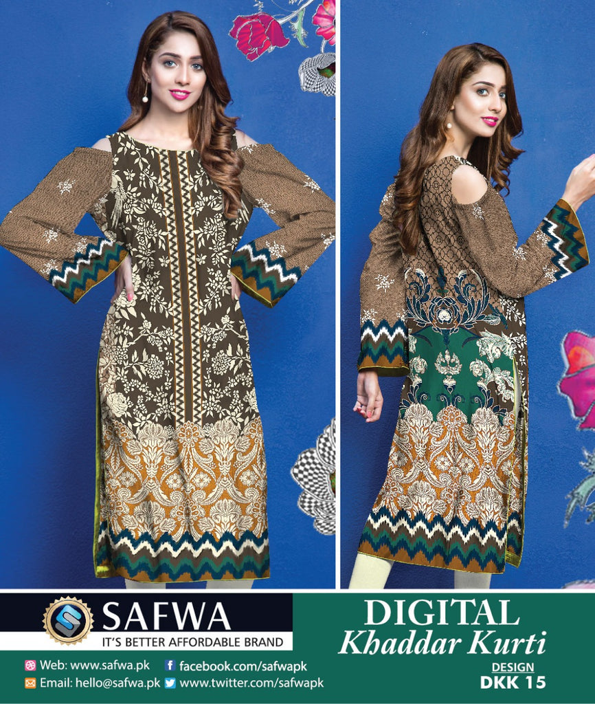 DKK015- SAFWA DIGITAL KHADDAR -PRINT KURTI COLLECTION - SHIRT - KURTI - KAMEEZ