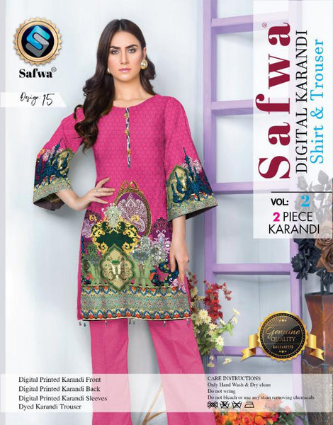 DK 15 - SAFWA DIGITAL KHADDAR 2 PIECE  PRINT COLLECTION -SHIRT and Trouser |SAFWA DRESS DESIGN| DRESSES| PAKISTANI DRESSES| SAFWA -SAFWA Brand Pakistan online shopping for Designer Dresses