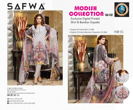 SM-15-SAFWA LAWN-MODISH COLLECTION- PRINTED -2 PIECE DRESS - Safwa |Dresses| Pakistani Dresses| Fashion|Online Shopping