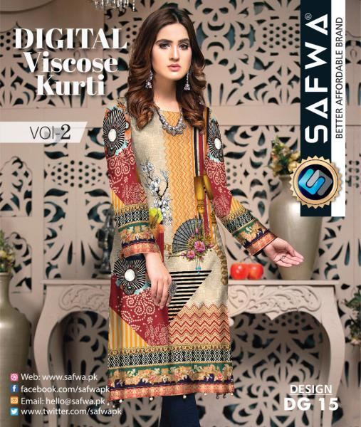 DG-15 - SAFWA - DIGITAL SHIRT - KURTI - VISCOSE KAMEEZ -SAFWA DRESS DESIGN, DRESSES, PAKISTANI DRESSES,-Shirt-Kurti-SAFWA Textile -SAFWA Brand Pakistan online shopping for Designer Dresses