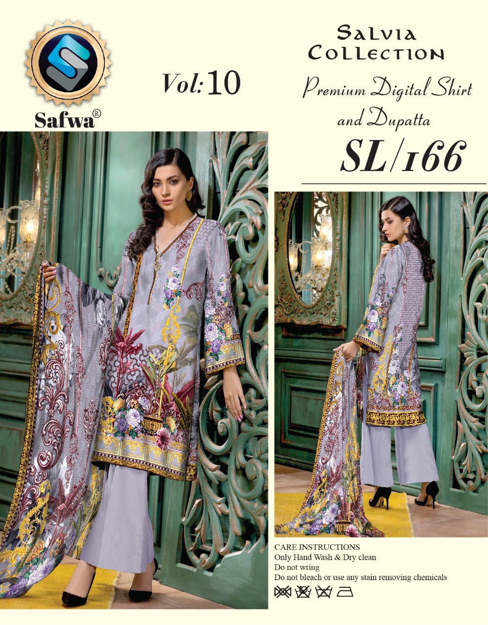 sl-166-SAFWA LAWN-SALVIA COLLECTION- PRINTED -2 PIECE DRESS - Two Piece Suit - safwa
