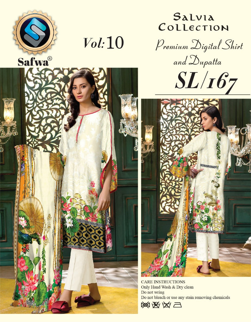 sl-167-SAFWA LAWN-SALVIA COLLECTION- PRINTED -2 PIECE DRESS - Two Piece Suit - Safwa Pakistan Fashion