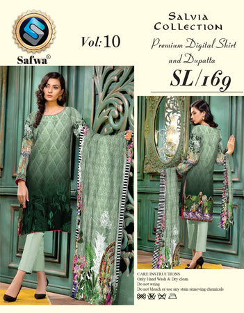 sl-169-SAFWA LAWN-SALVIA COLLECTION- PRINTED -2 PIECE DRESS - Two Piece Suit - Safwa Pakistan Fashion