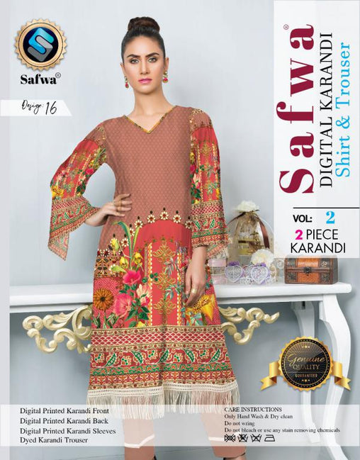 DK 16 - SAFWA DIGITAL KHADDAR 2 PIECE  PRINT COLLECTION -SHIRT and Trouser |SAFWA DRESS DESIGN| DRESSES| PAKISTANI DRESSES| SAFWA -SAFWA Brand Pakistan online shopping for Designer Dresses