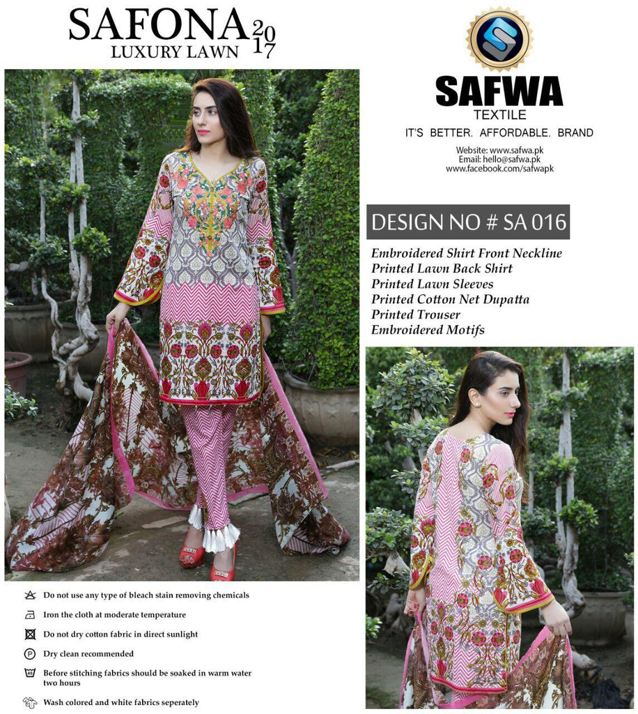 SA-016 - SAFWA LAWN - SAFONA COLLECTION - EMBROIDERED - 3 PIECE DRESS, Three Piece Suit, SAFWA, SAFWA Brand - Pakistani Dresses | Kurtis | Shalwar Kameez | Online Shopping | Lawn Dress