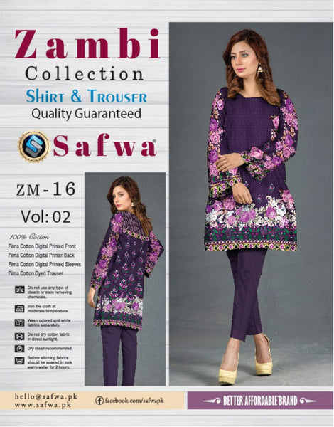 ZM-16-SAFWA COTTON-ZAMBI COLLECTION- PRINTED -2 PIECE DRESS - Two Piece Suit - safwa