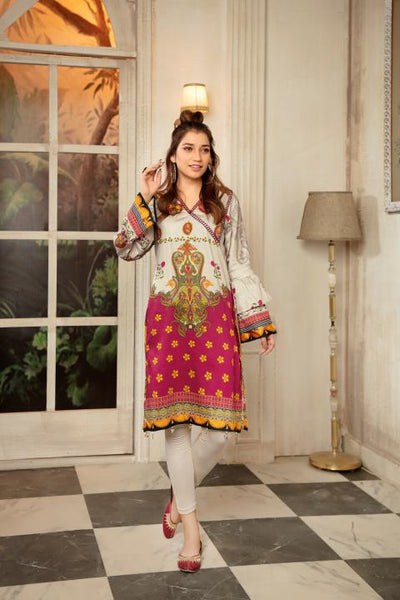 CST-16 - SAFWA DIGITAL COTTON SATIN PRINT KURTI COLLECTION -SHIRT| KURTI | KAMEEZ -SAFWA BRAND PAKISTAN , DRESS DESIGN, DRESSES , PAKISTANI DRESSES