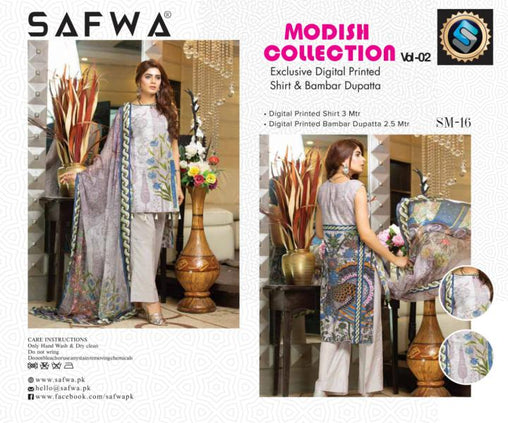 SM-16-SAFWA LAWN-MODISH COLLECTION- PRINTED -2 PIECE DRESS - Safwa |Dresses| Pakistani Dresses| Fashion|Online Shopping