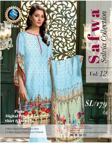 sl-179-SAFWA LAWN-SALVIA COLLECTION- PRINTED -2 PIECE DRESS - Two Piece Suit - safwa