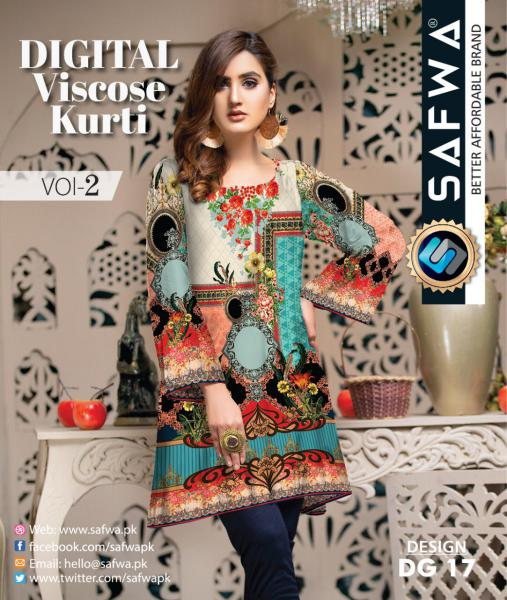 DG-17 - SAFWA - DIGITAL SHIRT - KURTI - VISCOSE KAMEEZ -SAFWA DRESS DESIGN, DRESSES, PAKISTANI DRESSES,-Shirt-Kurti-SAFWA Textile -SAFWA Brand Pakistan online shopping for Designer Dresses