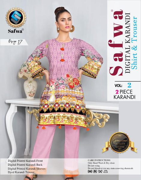 DK 17 - SAFWA DIGITAL KHADDAR 2 PIECE  PRINT COLLECTION -SHIRT and Trouser |SAFWA DRESS DESIGN| DRESSES| PAKISTANI DRESSES| SAFWA -SAFWA Brand Pakistan online shopping for Designer Dresses