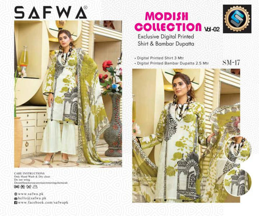 SM-17-SAFWA LAWN-MODISH COLLECTION- PRINTED -2 PIECE DRESS - Safwa |Dresses| Pakistani Dresses| Fashion|Online Shopping