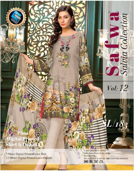 sl-183-SAFWA LAWN-SALVIA COLLECTION- PRINTED -2 PIECE DRESS - Two Piece Suit - Safwa Pakistan Fashion