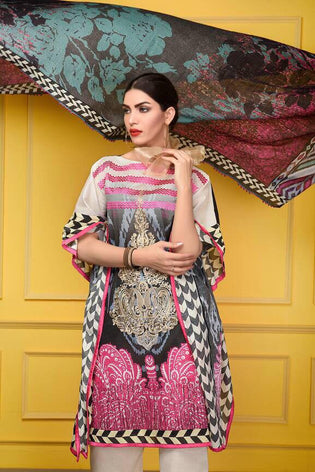 D-608 - SAFWA DIGITAL - SUPREME COLLECTION - EMBROIDERED - 3 PIECE SUIT - LAWN