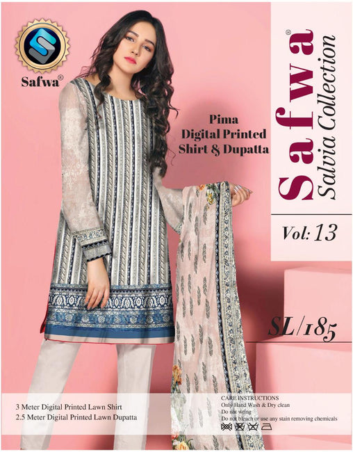 sl-185-SAFWA LAWN-SALVIA COLLECTION- PRINTED -2 PIECE DRESS - Two Piece Suit - safwa