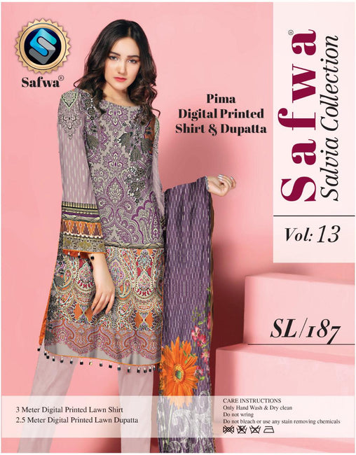 sl-187-SAFWA LAWN-SALVIA COLLECTION- PRINTED -2 PIECE DRESS - Two Piece Suit - safwa