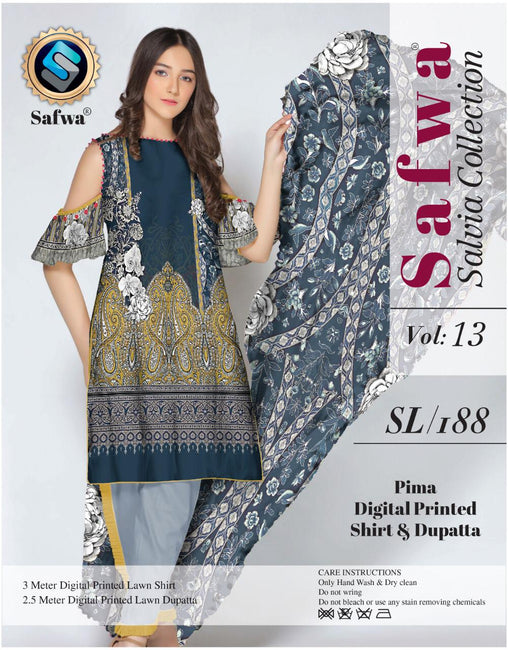 sl-188-SAFWA LAWN-SALVIA COLLECTION- PRINTED -2 PIECE DRESS - Two Piece Suit - safwa
