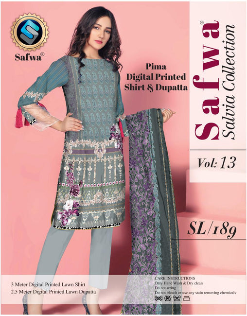 sl-189-SAFWA LAWN-SALVIA COLLECTION- PRINTED -2 PIECE DRESS - Two Piece Suit - safwa