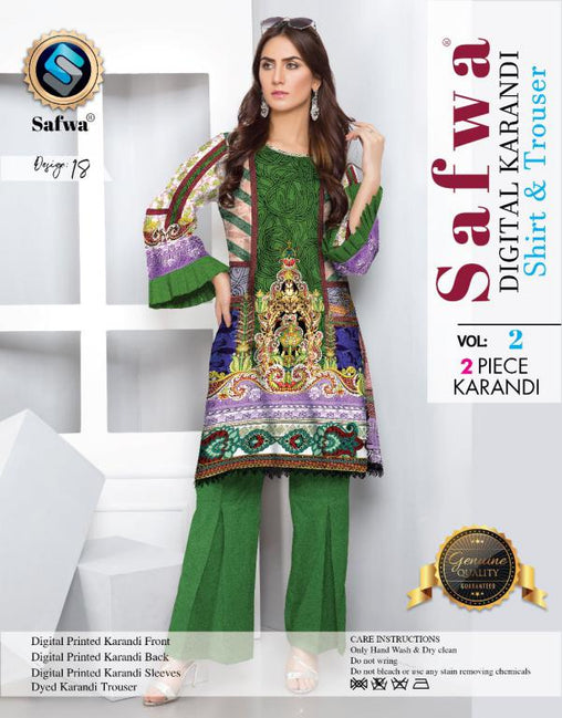 DK 18 - SAFWA DIGITAL KHADDAR 2 PIECE  PRINT COLLECTION -SHIRT and Trouser |SAFWA DRESS DESIGN| DRESSES| PAKISTANI DRESSES| SAFWA -SAFWA Brand Pakistan online shopping for Designer Dresses