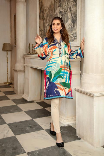 CST-18 - SAFWA DIGITAL COTTON SATIN PRINT KURTI COLLECTION -SHIRT| KURTI | KAMEEZ -SAFWA BRAND PAKISTAN , DRESS DESIGN, DRESSES , PAKISTANI DRESSES