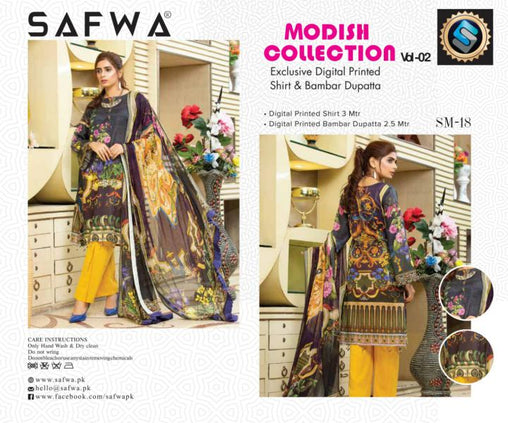 SM-18-SAFWA LAWN-MODISH COLLECTION- PRINTED -2 PIECE DRESS - Safwa |Dresses| Pakistani Dresses| Fashion|Online Shopping