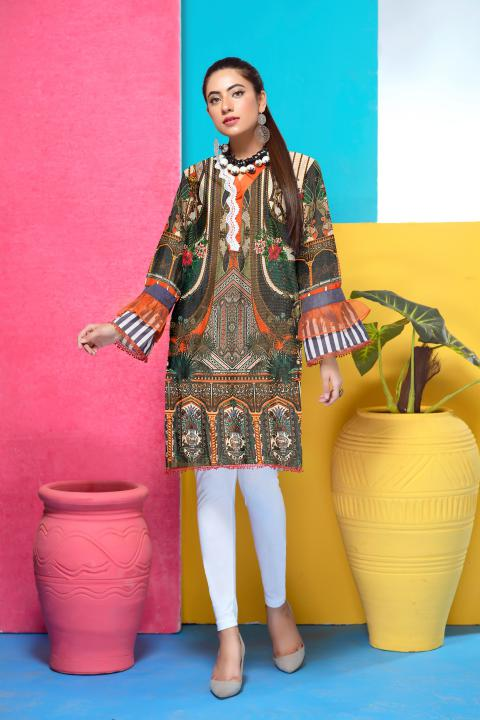 DM-28-SAFWA DIGITAL PRINTED MESURI SHIRT COLLECTION 2020 - MESURI LAWN SHIRT-KURTI
