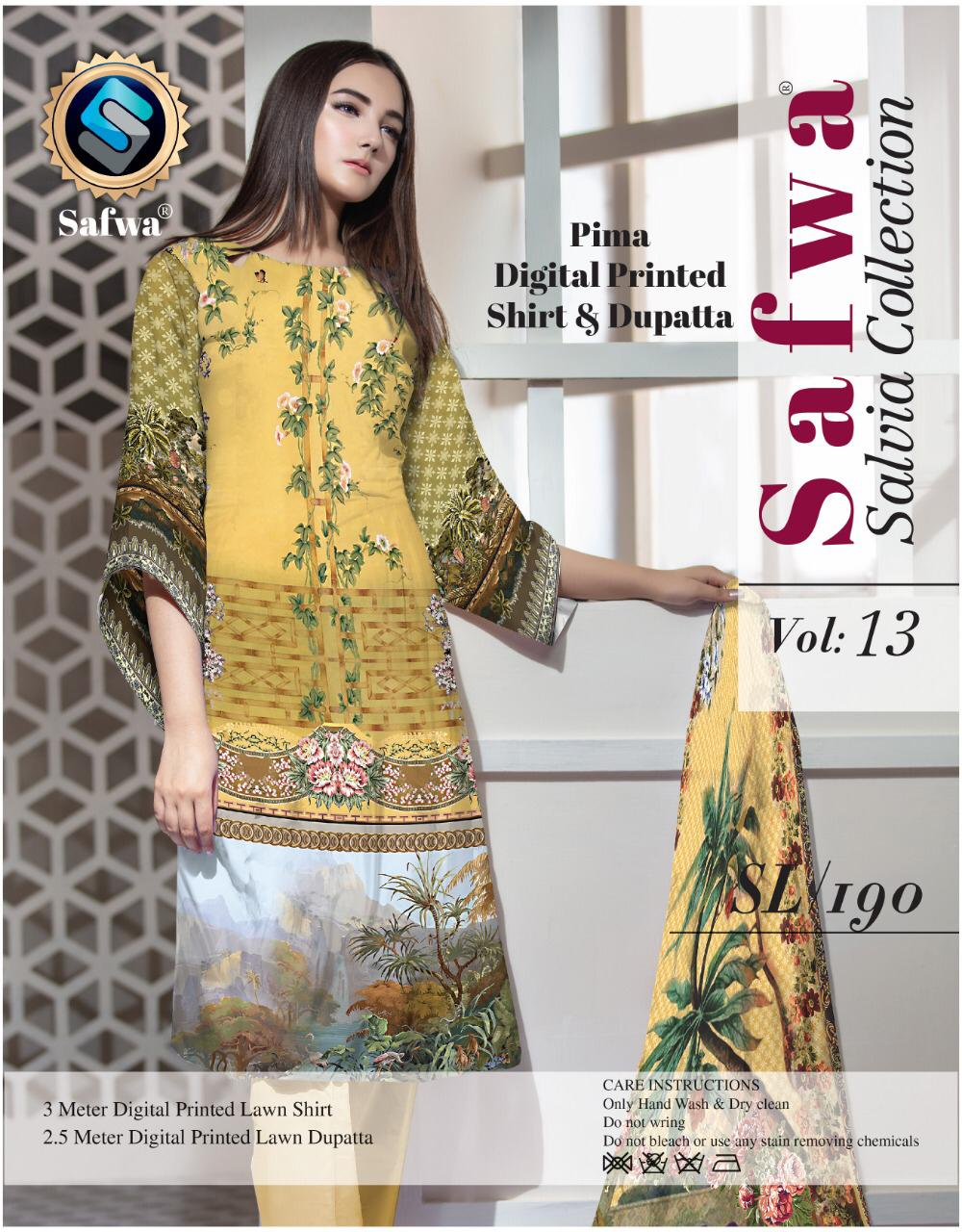 sl-190-SAFWA LAWN-SALVIA COLLECTION- PRINTED -2 PIECE DRESS - Two Piece Suit - safwa