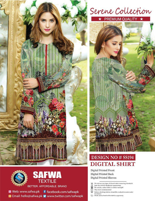 SAFWA DRESS DESIGN, DRESSES, PAKISTANI DRESSES, SS-194 - SAFWA PREMIUM LAWN - SERENE COLLECTION - DIGITAL - SHIRTS-Shirt-Kurti-SAFWA -SAFWA Brand Pakistan online shopping for Designer Dresses