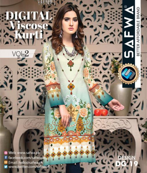 DG-19 - SAFWA - DIGITAL SHIRT - KURTI - VISCOSE KAMEEZ -SAFWA DRESS DESIGN, DRESSES, PAKISTANI DRESSES,-Shirt-Kurti-SAFWA Textile -SAFWA Brand Pakistan online shopping for Designer Dresses