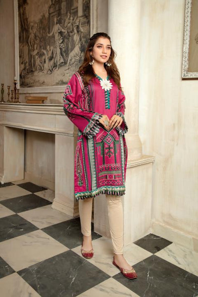 CST-19 - SAFWA DIGITAL COTTON SATIN PRINT KURTI COLLECTION -SHIRT| KURTI | KAMEEZ -SAFWA BRAND PAKISTAN , DRESS DESIGN, DRESSES , PAKISTANI DRESSES