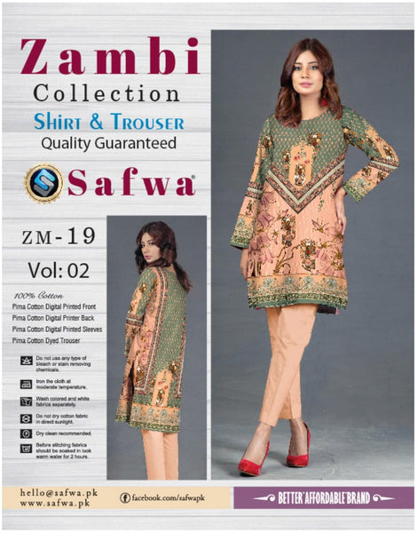 ZM-19-SAFWA COTTON-ZAMBI COLLECTION- PRINTED -2 PIECE DRESS - Two Piece Suit - safwa