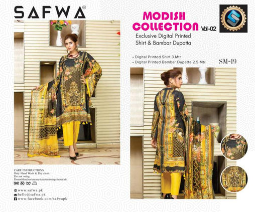 SM-19-SAFWA LAWN-MODISH COLLECTION- PRINTED -2 PIECE DRESS - Safwa |Dresses| Pakistani Dresses| Fashion|Online Shopping
