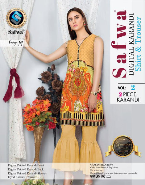 DK 19 - SAFWA DIGITAL KHADDAR 2 PIECE  PRINT COLLECTION -SHIRT and Trouser |SAFWA DRESS DESIGN| DRESSES| PAKISTANI DRESSES| SAFWA -SAFWA Brand Pakistan online shopping for Designer Dresses