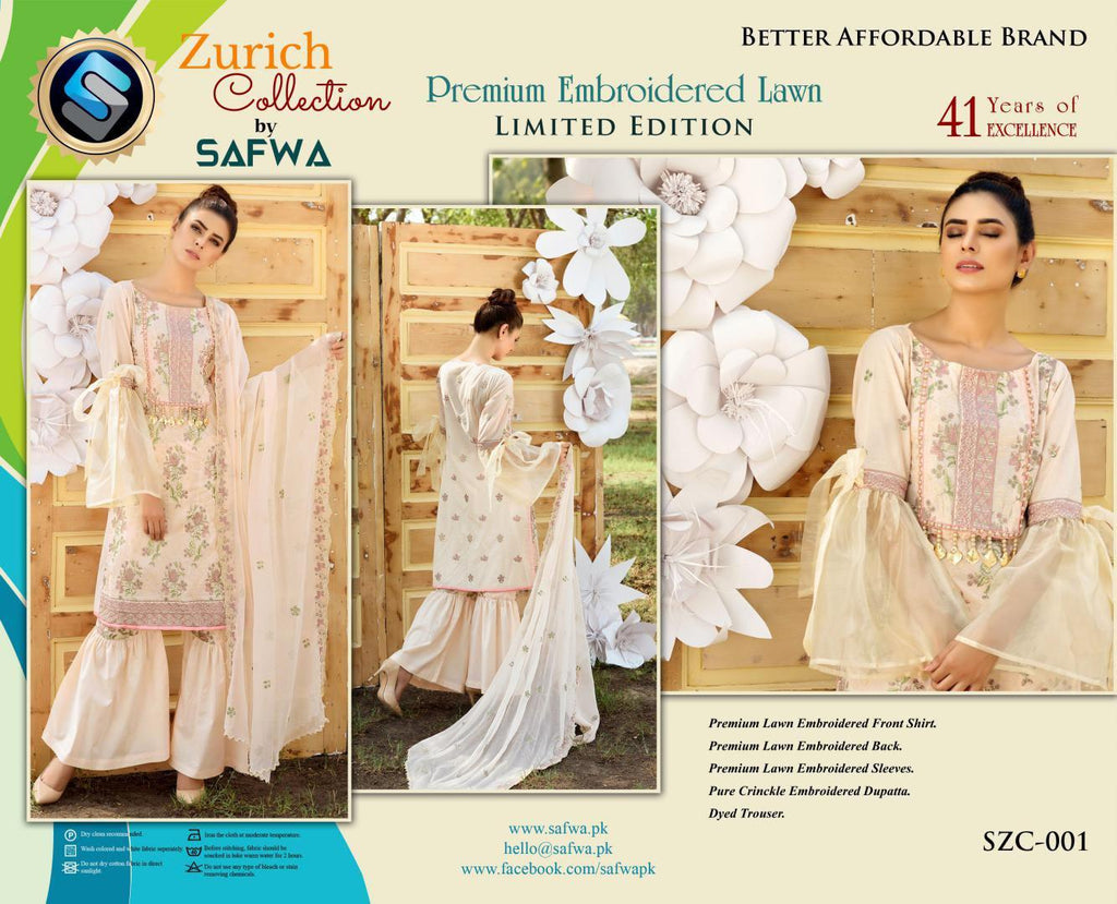 SZC-001 - SAFWA BRAND - ZURICH COLLECTION - EMBROIDERED - PREMIUM LAWN DRESS, 5 Piece Suit, SAFWA, SAFWA Brand - Pakistani Dresses | Kurtis | Shalwar Kameez | Online Shopping | Lawn Dress